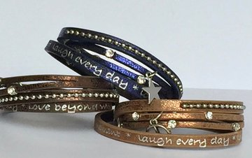 Wikkelarmbandje*Live every moment*Laugh every day*Love beyond world